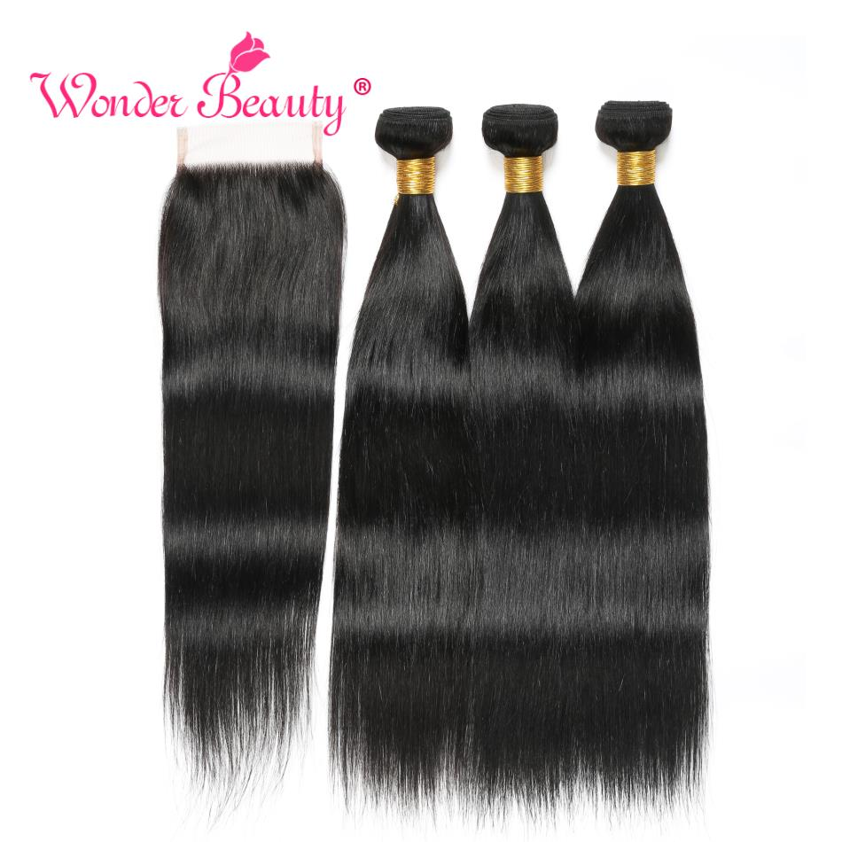 Wonder Beauty Human Hair teje Indian Straight Hair 3 bundles con - Cabello humano (negro)