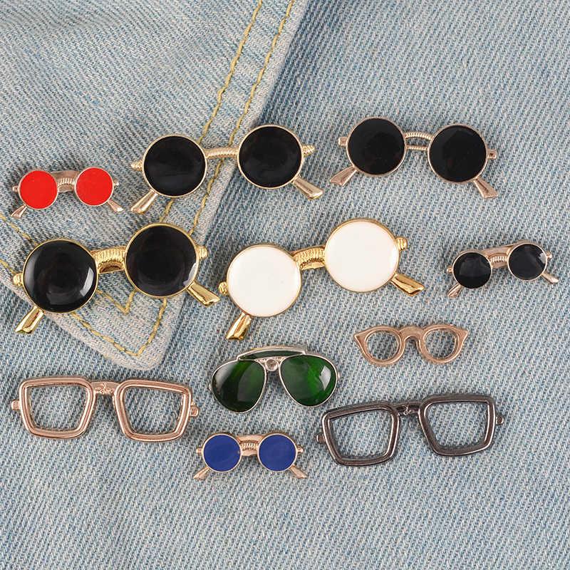 Berbagai Kacamata Pin Bulat Lensa Kacamata Bros Lencana Kartun Enamel Ransel Pin untuk Kacamata Fan Hadiah Perhiasan Grosir