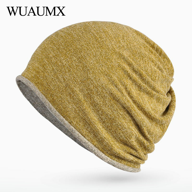 Wuaumx Autumn Winter Hat For Women And Men Double layer Multifunction   Skullies     Beanies   Solid Turban Hats Ring Scarf Bonnet Femme