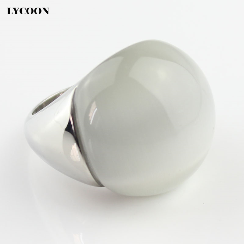 LYCOON Fashion high quality woman opals jewelry ring 316L stainless steel with white cat's eyes stone in ball shape big rings недорго, оригинальная цена