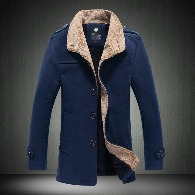 2016 New Arrival Winter Mens Trench Coats British Style long jacket and coat for men Slim Fit Mens fur parkas Overcoat