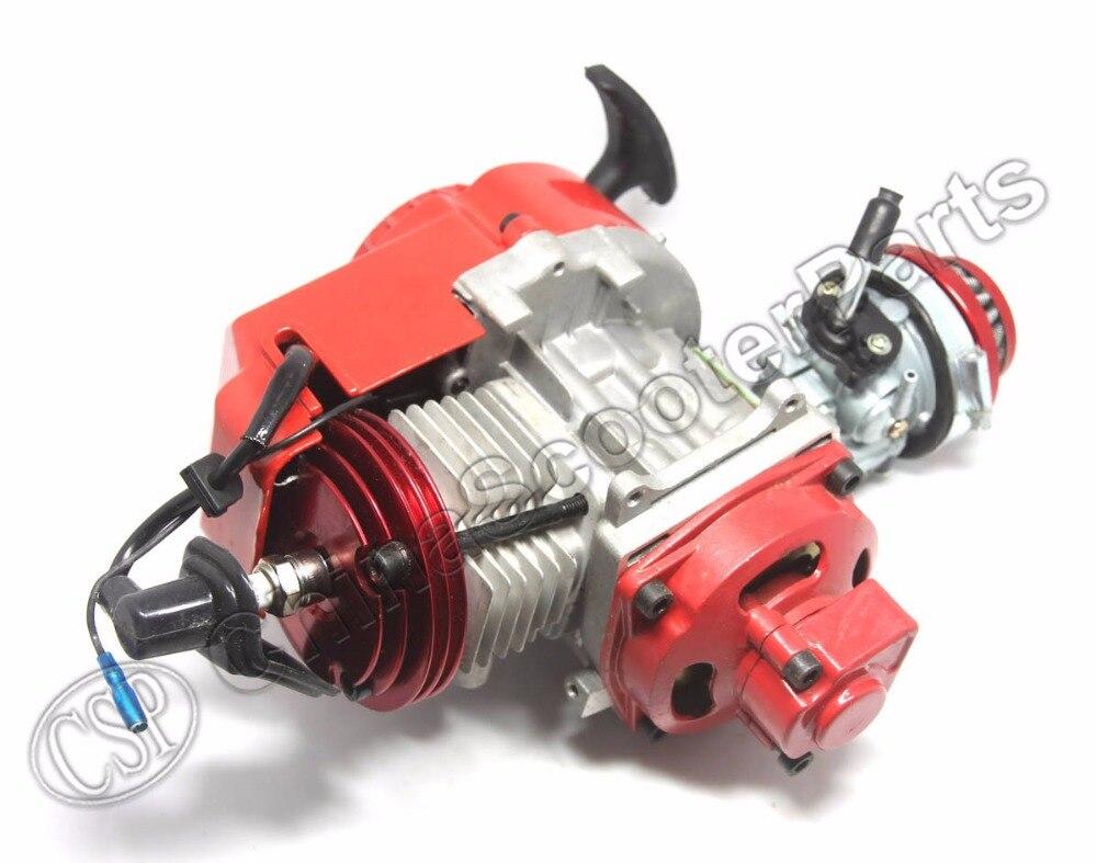 Гоночный двигатель 49CC, алюминиевый пусковой механизм, 15 мм Карбюратор с ЧПУ, воздушный фильтр, мини Мото Карманный Квадрокоптер, багги, грязи, питбайк, красный|atv quad|mini motos pocketpull start | АлиЭкспресс