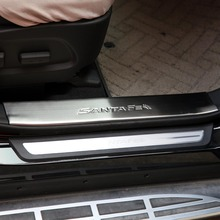 Фотография Car accessories door sill scuff plate fit for Hyundai Grand SantaFe 2013 2014 2015 Car styling stickers 4pc/set