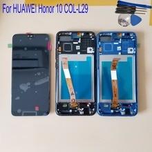 С рамкой для Huawei Honor 10 COL L29, ЖК дисплей, сенсорный экран, дигитайзер в сборе, замена со сканером отпечатка пальца