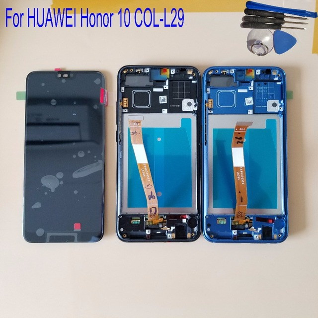 Met Frame Voor Huawei Honor 10 COL L29 Lcd Touch Screen Digitizer Vergadering Vervanging Met Vingerafdruk