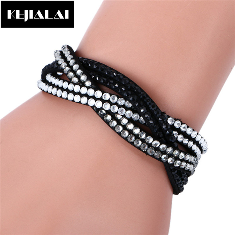 Twisted Leather Bangles & Bracelets for Women Multilayer Wrap Charm Pave with Rhinestone Crystal Magnetic Female Jewelry Gift