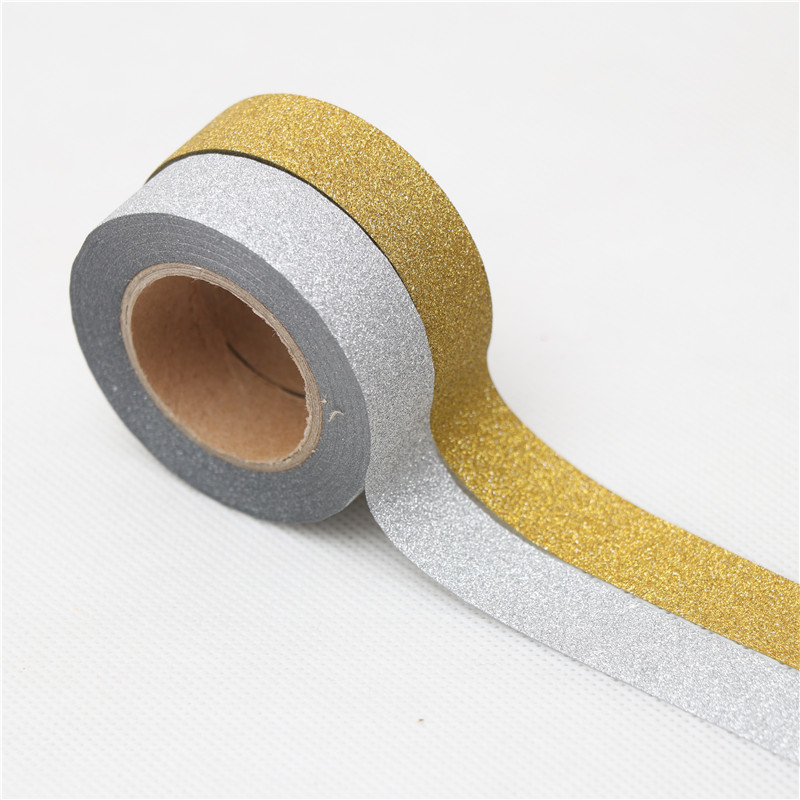 15mm*10m Japanese Gold Silver Glitter Washi Tape Stationery Kawaii Scrapbooking Tools Masking Tape Adhesiva Decorativa Colored