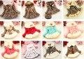 Varejo Meninas Leopard falso pele de raposa gola roupas casaco com arco Outono Inverno vestir Roupas de bebê Crianças outerwear casaco vestido