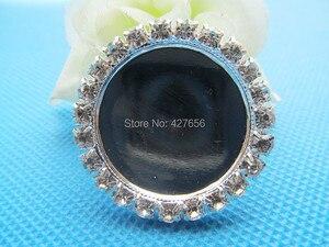 Image 2 - Nuevo 100 unids/lote de diamantes de imitación blancos de cobre colgante de encanto, Base de ajuste de bandeja de bisel, ajuste 25mm cabujón imagen camafeo