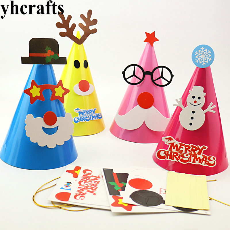 Model Building Kits 4pcs/lot,4 Design Choose Diy Christmas Cone Hats Create Your Own Kindergarten Crafts Early Learning Educational Toys Adult Diy Cheap Sales 50%