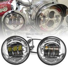 4.5 4-1/2 LED Fog Light Passing Lamp for Harley Davidson Touring Electra Glide Heritage Softail(Black/Chrome)