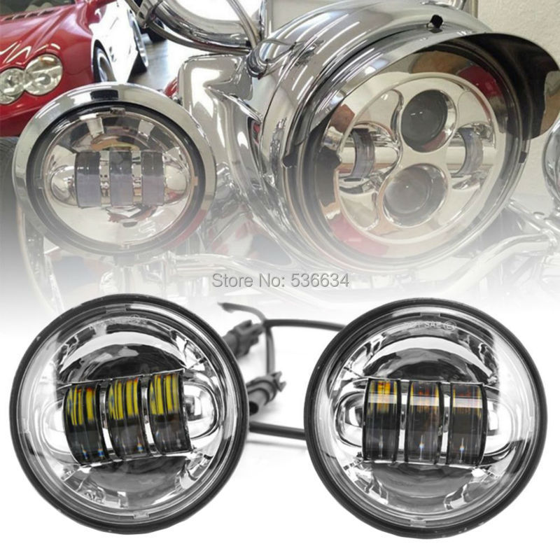 4.5 4-1/2 LED Fog Light Auxiliary Passing Lamp for Harley Davidson Touring Electra Glide Heritage Softail(Black/Chrome) 4pcs set 7 daymaker projector led headlamp 4 5inch auxiliary motorcycle led fog light for harley touring softail trike flhtcuse