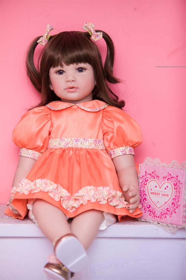 Pursue 22/56cm Reborn Baby Soft Body Realistic Vinyl Baby Doll Lifelike Poseable Princess Doll Matching Outfits Brown Eyes Girl pursue 22 56 cm soft body vinyl silicone reborn lifelike poseable baby princess boy doll cloth body weighted toddler doll toys