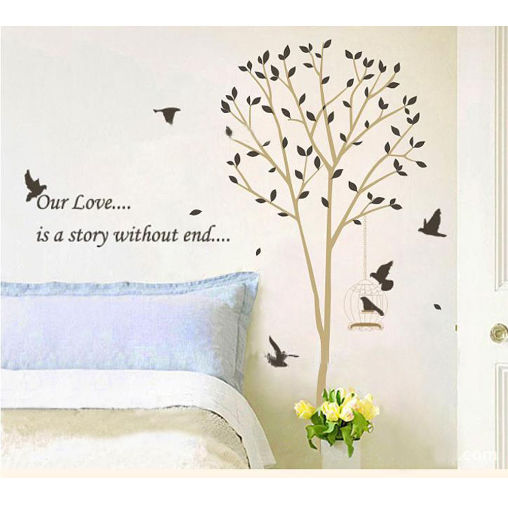 online get cheap plane tree leaf aliexpress com alibaba group wall stickers home decor tall tree leaves falling birds flying bedroom stickers home decor fg