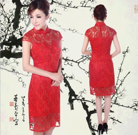 new black chinese style women/'s lace Evening mini Dress Ball Cheongsam S-XXL