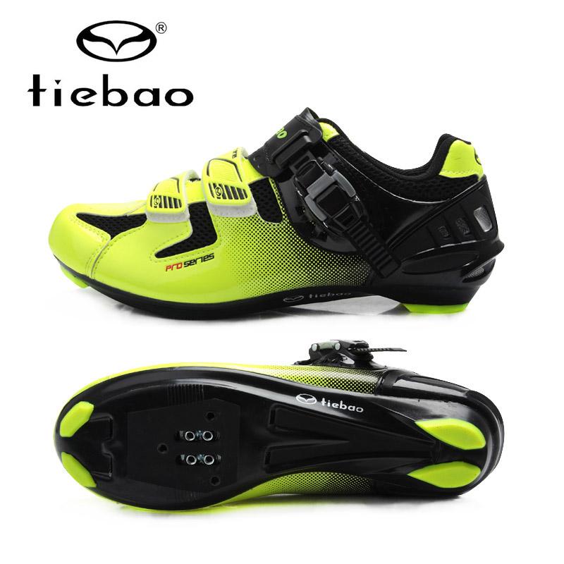Prix pour Tiebao Nouvelle Tiebao Vélo Racing Sport Cyclisme Sur Route Chaussures Respirant de Sport VTT Route Vélo Auto-lock Chaussures