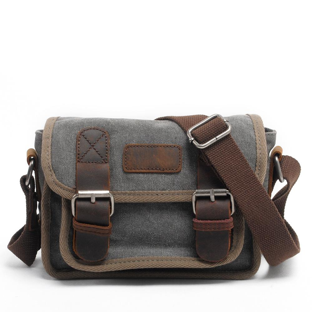 Vintage Canvas Leather Khaki Navy School Military Shoulder Bag Flap Leisure Messenger Bag  Crossbody Bags