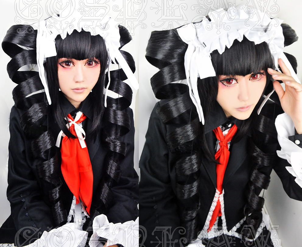 Anime  Danganronpa Celestia Ludenbeck Cosplay Wig Black Spiral Curl Long Synthetic Hair + Wig Cap