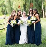2 Styles Chiffon New Bridesmaid Dresses Navy Blue A Line Spaghetti Strapless Zipper Back with Ruffle Wedding Party Dress