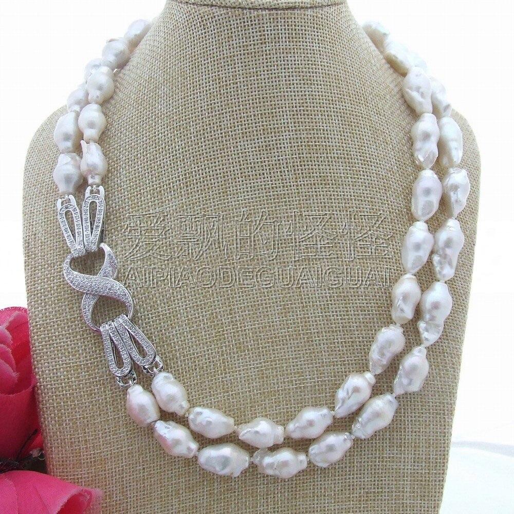 N052205 20 Natural White 18 MM Reborn Keshi Collana di Perle BaroccheN052205 20 Natural White 18 MM Reborn Keshi Collana di Perle Barocche