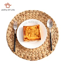 2Pcs/Lot Straw Braid Placemat Heat Insulation Pad Bowl Coasters Disc Pads Pastoral Style