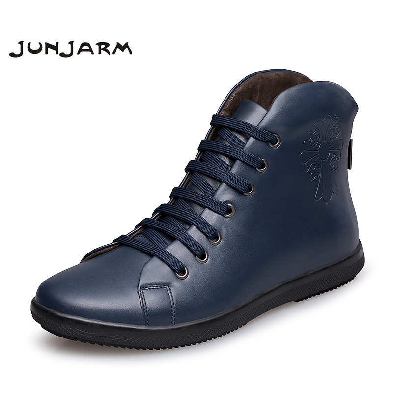JUNJARM 2017 New Designer Men Boots 100% Genuine Leather Men Winter Shoes Plush Warm Men Snow Shoes Black Man Leather Ankle Boot galaxy yinhe emery paper racket ep 150 sandpaper table tennis paddle long shakehand st