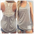 2017 Women Summer Style Blouses Lace Vest Top Sleeveless Sexy Blouse Casual Tops Shirt  Female Cotton Blusa Hollow Out Tank Tops
