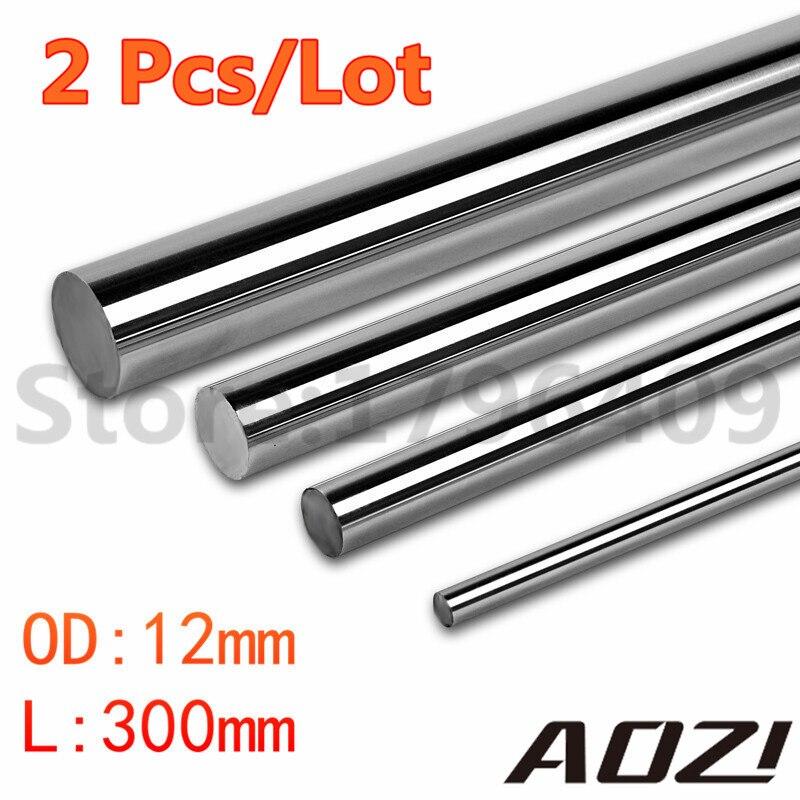 цена 2 PCS/LOT OD 12MM X 300MM Length Cnc Linear Shaft Chrome WCS Round Steel Rod Bar Cylinder Linear Rail онлайн в 2017 году