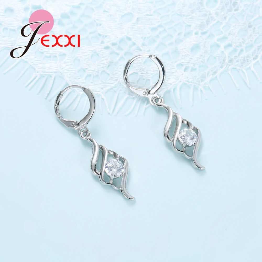 Baru Kedatangan Crystal Spiral Perhiasan Wanita Rantai Liontin Kalung + Anting-Anting Perhiasan Set Wanita 925 Sterling Perak Set