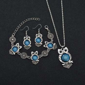 MissCyCy Ancient Silver Color Owl Jewelry Set New Synthetic Blue Stone Pendant Necklace 2
