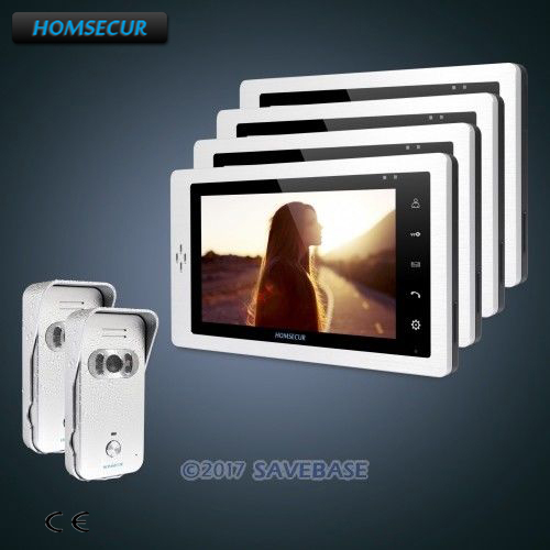 HOMSECUR 7 Wired 2C4M Hands-free Video Door Phone Intercom System+Silver Camera