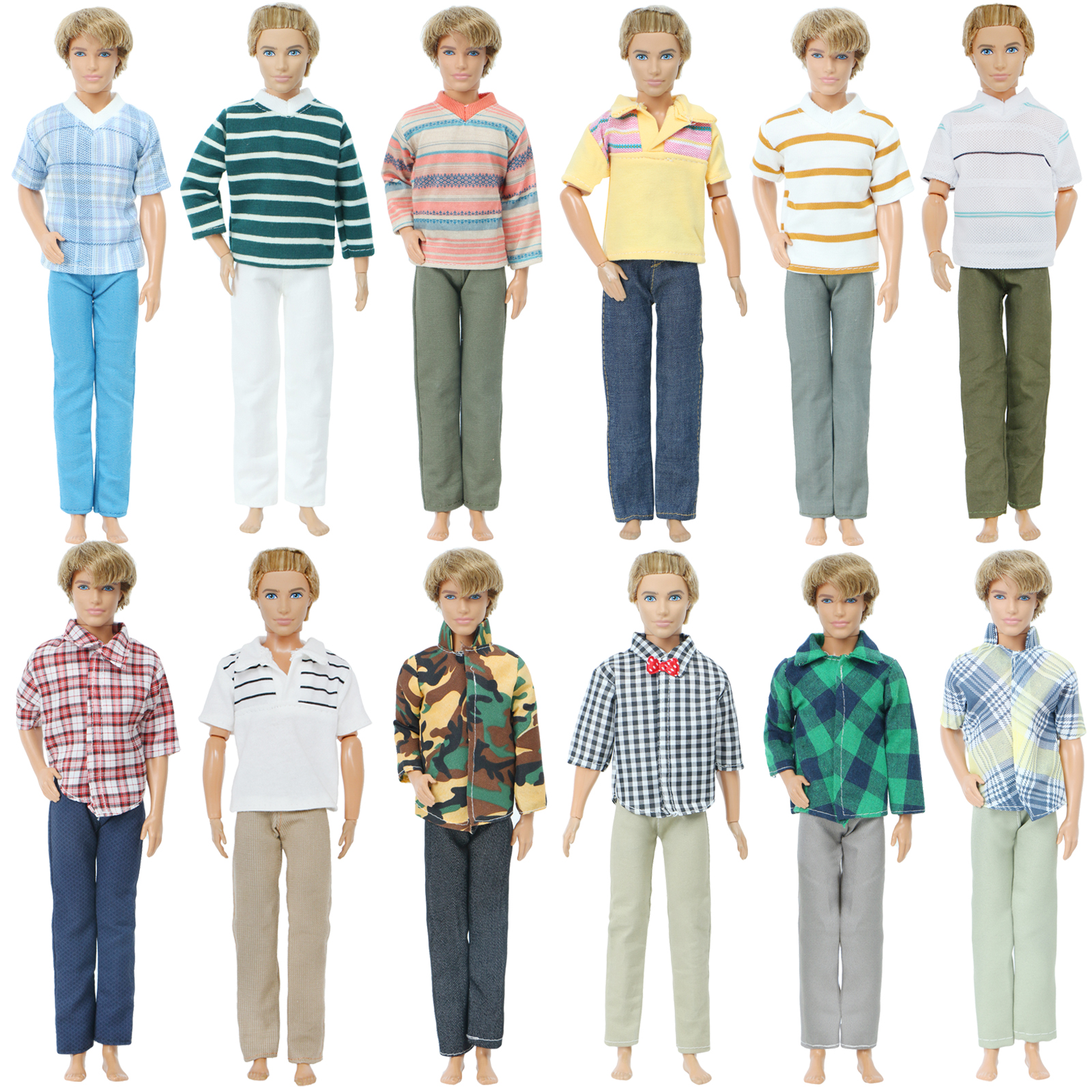 1 Set Men Daily Casual Outfit Trousers Wide Leg Pants + Striped Plaid Lattice Shirt Clothes For Barbie Ken Doll Accessories Toy