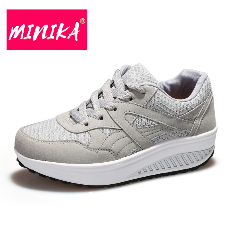 MINIKA New Arrival Casual Shoes Women Breathable Mesh shoes Lace-Up Canvas Shoes Women Weight Loss Women Vulcanize Shoes pinsen fashion women shoes summer breathable lace up casual shoes big size 35 42 light comfort light weight air mesh women flats