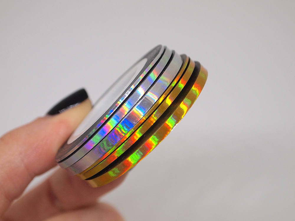6 rolls of rainbow gold and silver nail striping tape/ 1mm, 2mm 3mm wide/ foil/ decorations/ Nails/ art/ Nail