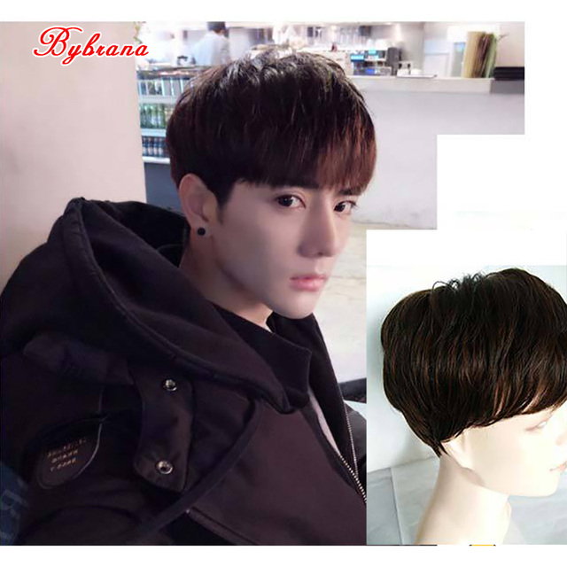 Bybrana Short Straight Hair Handsome Boys Personality Wig ...