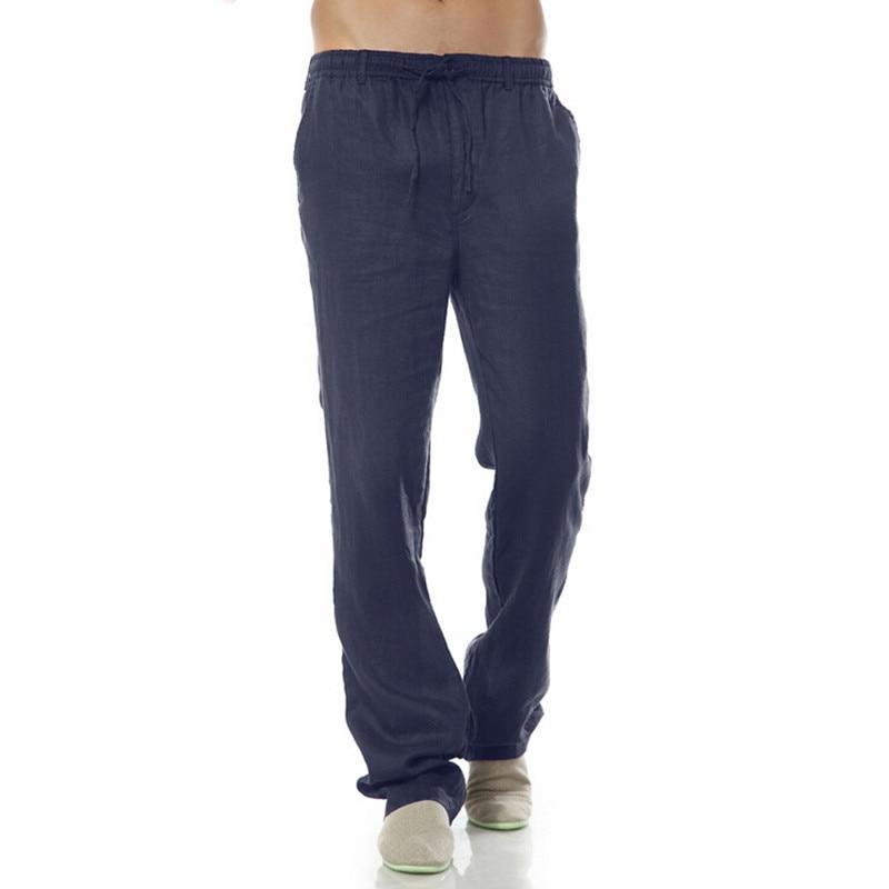 Longues Mince Lâche Taille Navy Décontracté De Coton Été Hommes Linge Pantalon Élastique Pantalons Blue vwgnx6qS