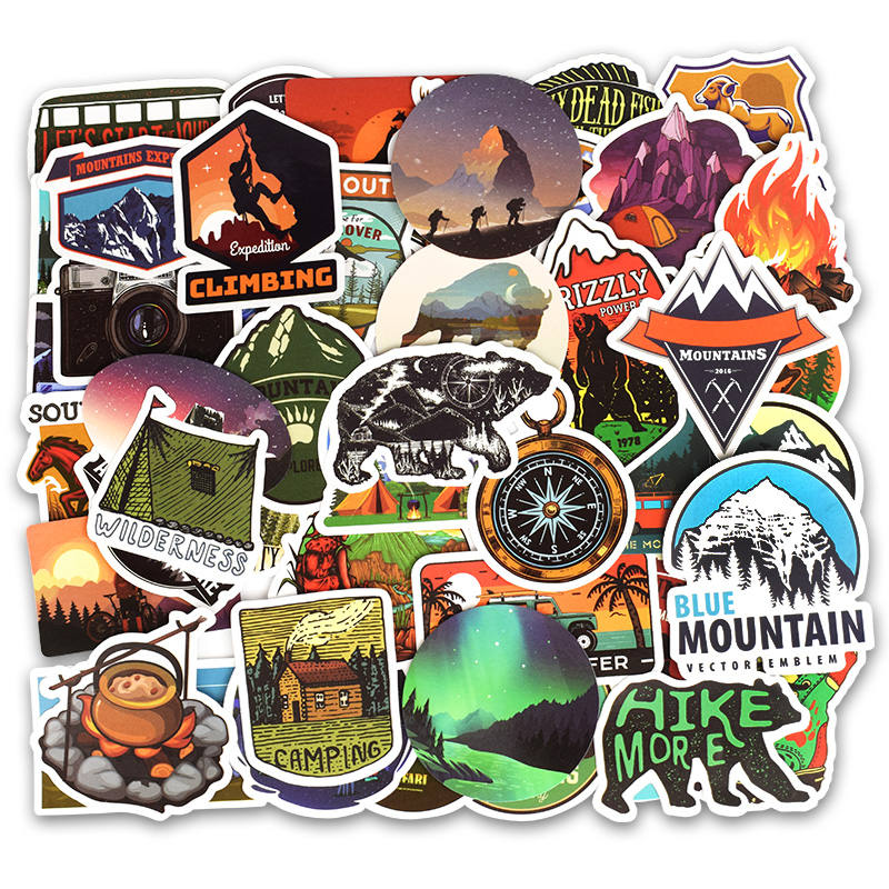 Image 2 - 50Pcs Camping Landscape Stickers Outdoor Adventure Climbing Travel Stickers for Computer Macbook Luggage Bicycle Laptop Sticker-in Laptop Skins from Computer & Office