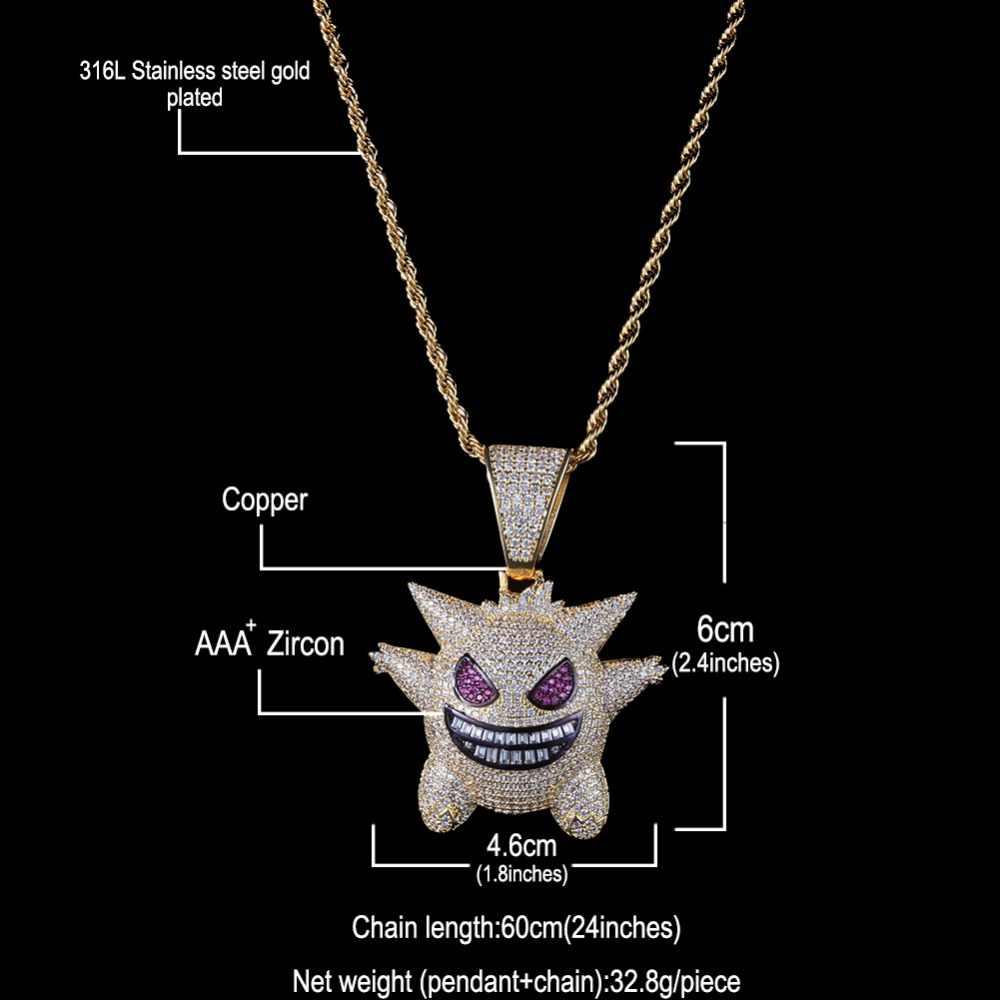 Uwin moda Hiphop Micro Pave Bling Bling bajki naszyjnik mrożona cyrkonia mały diabeł wisiorek łańcuchy biżuteria kobiety mężczyźni