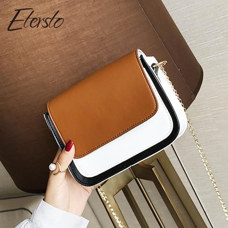 Etersto2018 Новый Повседневное модные сумки новые модные клатч женские вечерние кошельки Дамы Сумка контрастного цвета плеча Ba