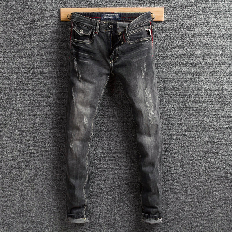 Italian Style Fashion Men Jeans Black Gray Slim Fit Ripped Jeans Vintage Designer Cotton Denim Pants Hombre Classical Jeans Men