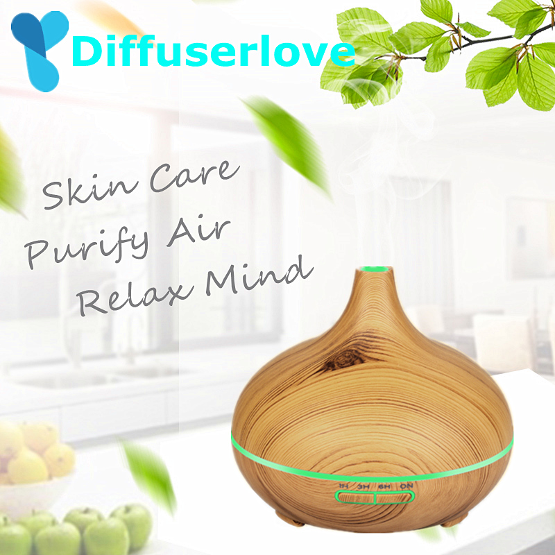 Diffuserlove 300ml Air Humidifier Ultrasonic Essential Oil Diffuser 7 Color Light Electric Aromatherapy Humidifier Household