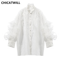 CHICATWILL Summer 2019 Elegant Feathers Ruffles Organza Blouses Sexy Women Shirts Long Sleeves White Tops