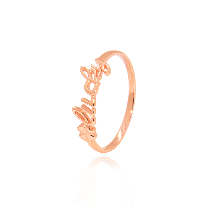 Delicate 18KT AU750 Genuine Solid Gold Rose Color Lucky Letters Tail Rings Bands for Women Female Girl Gift Fine JewelryDelicate 18KT AU750 Genuine Solid Gold Rose Color Lucky Letters Tail Rings Bands for Women Female Girl Gift Fine Jewelry
