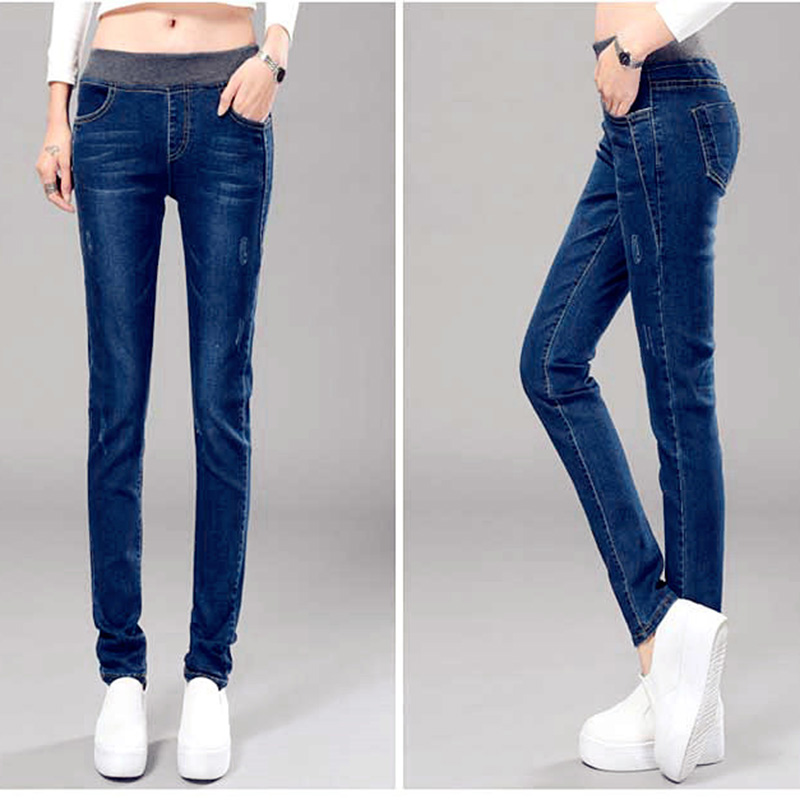 Autumn Plus Size Jeans Women Elastic Waist Denim Pants Stripe Skinny Pencil Pants Trousers Female Cotton Denim Pants Leggings plus size pants the spring new jeans pants suspenders ladies denim trousers elastic braces bib overalls for women dungarees