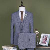 Tailor Made Suit Men Light Grey Fashion 3 Piece Wedding Suits for Men Plus Size Leisure Custom Made Costume Homme 5XL CD30