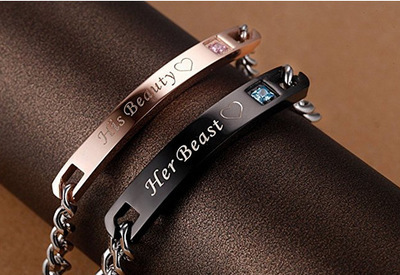 Купить новый браслет для влюбленных черный из титановой стали цвета