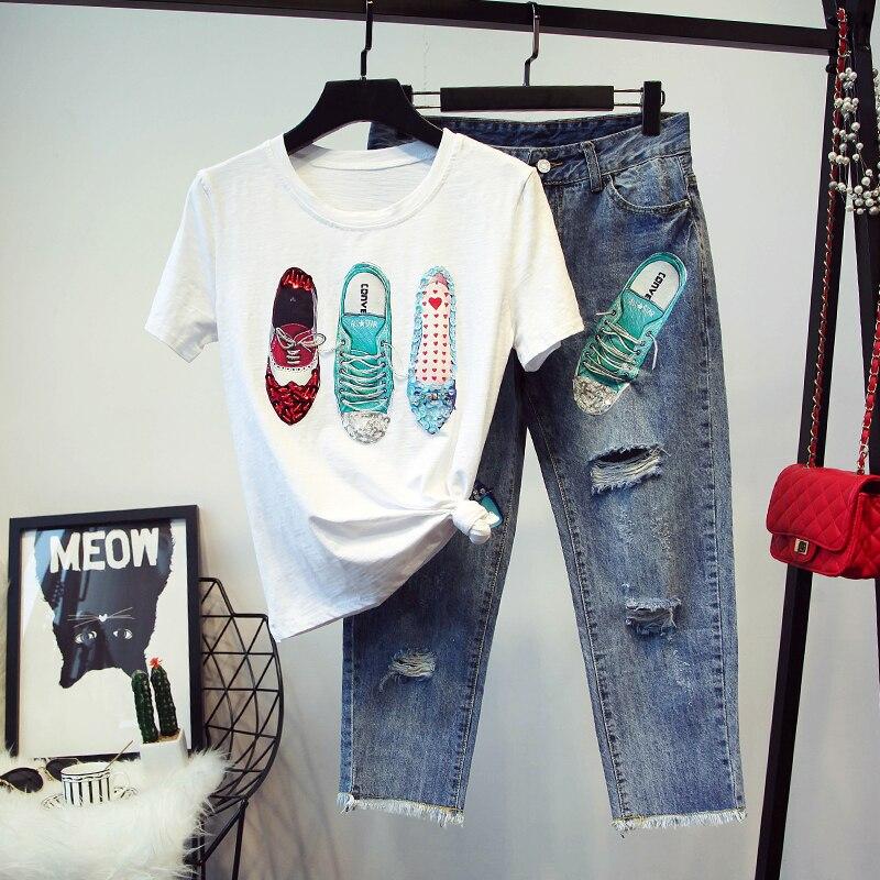 Primavera Foro Nero Vestito In Studenti Casual Jeans Da 2018 Bianco il Pezzi Scarpe Due Denim Paillettes Strappato Pantaloni Donna shirt Maniche Rilievo T v0wNnO8m