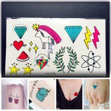 1PC Children Cartoon Temporary Tattoos Decals PAQ-X24 Diamonds Crystal Fashion Heart Unicorn Leaf Kids Flash Tattoo Sticker Girl