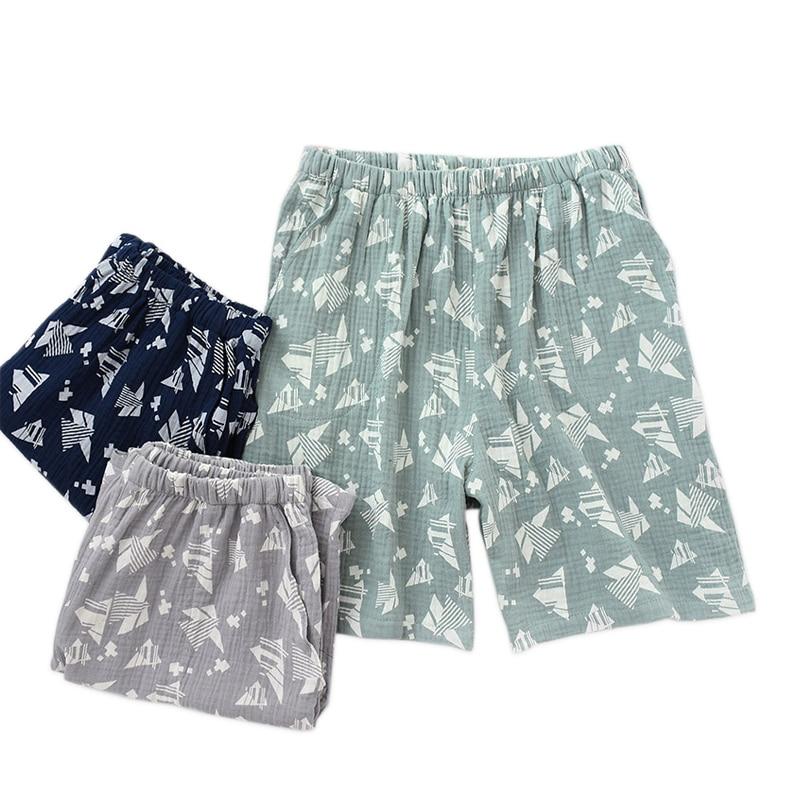 Summer Short Sleep Bottoms Men Fresh Soft 100% Crepe Cotton Home Shorts For Men Pajamas Pants Fashion Sexy Shorts Men Plus Size