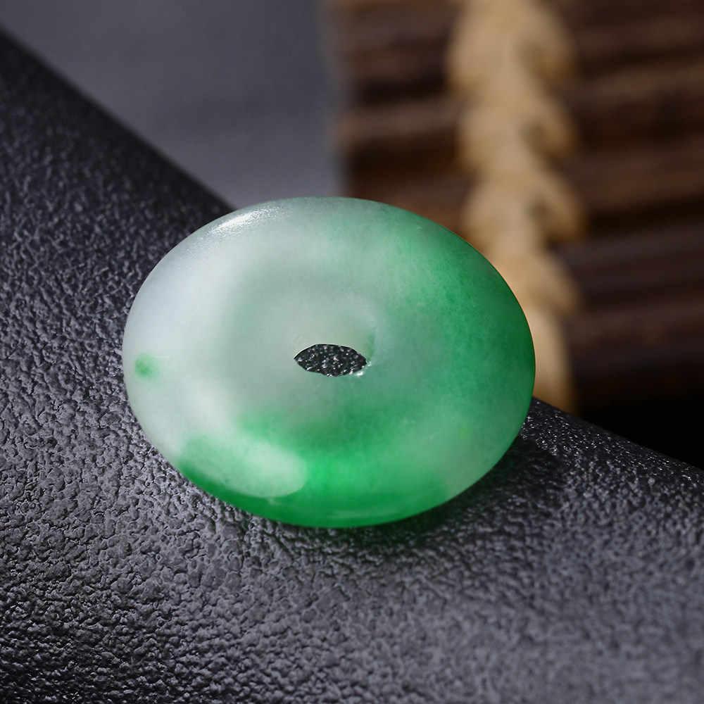 Натуральный целебный Кристалл зеленый нефритовый халцедон кулон для мужчин ювелирные изделия для женщин ожерелье модная ручная круглая молитва Йога национальное ожерелье